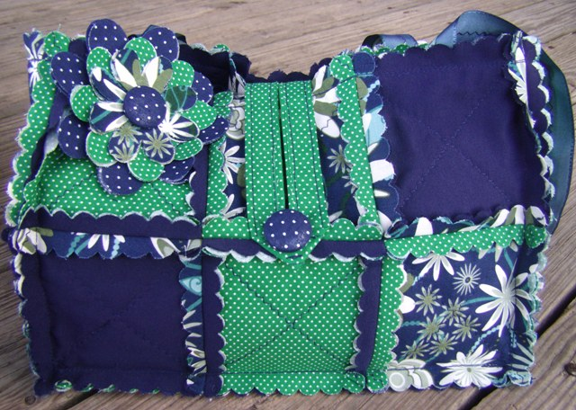Green and blue purse