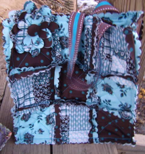 Purse brown and turquoise