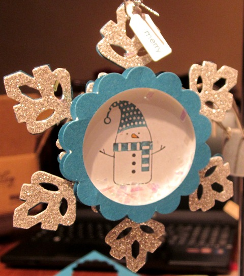 Merry winter snowflake ornament
