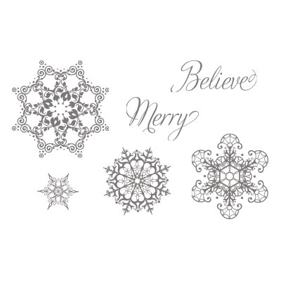 snowflake soiree clear mount stamp set